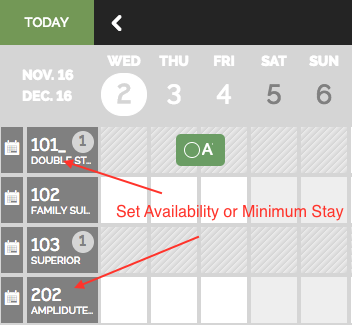 Availability and Minimum stay setting